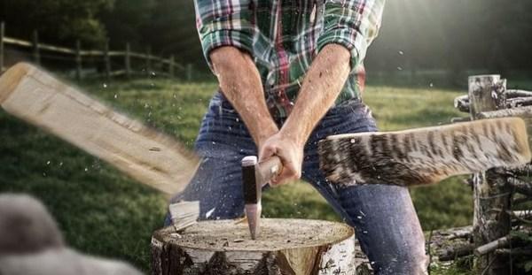 Sekera roztína drevo
