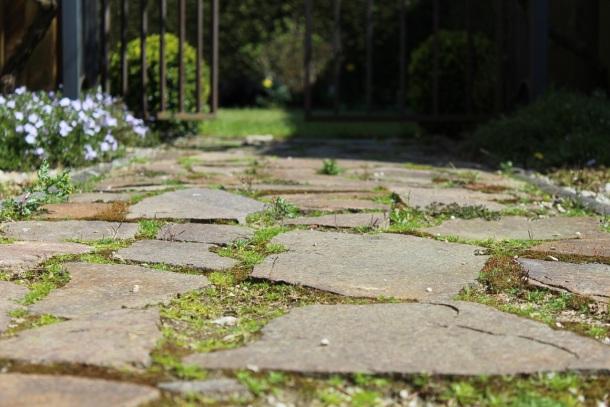 ploché kamene a prírodný vzhľad chodníka v záhrade